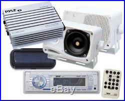 New Marine Boat MP3 USB Radio Media Receiver 2 X Box Speakers Stereo Cover Amp