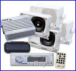 New Pyle Yacht Marine Boat MP3 USB WMA AUX AM FM Radio 4 X Box Speakers Amp Pkg