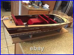 Old Dumas Craft Chris Craft Radio Boat With Stand Need Radio And TLC