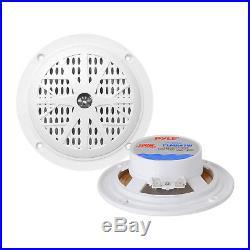 PLCD43MRB Marine Boat AM/FM Radio/ Bluetooth /Cover + 800W Amp 4 White Speakers