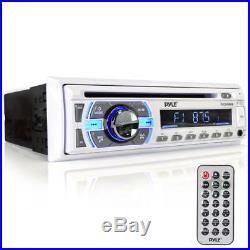PLCD43MRB Marine Boat AM/FM Radio/Bluetooth/Cover + Amplifier 4 White Speakers