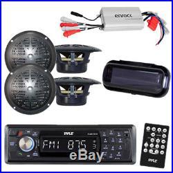 PLMR17BTB Marine Boat AM/FM Radio/ Bluetooth /Cover + 800W Amp 4 Black Speakers