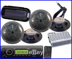 PLMR87WB Pyle Marine Boat USB SD AUX AM/FM WB Radio Stereo 4-Speakers & 400W Amp