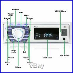 Pyle Bluetooth Marine Receiver Stereo 12v Single DIN Style Boat in Dash Radio