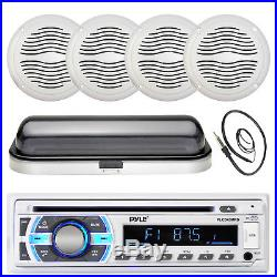 Pyle CD SD Bluetooth Boat Stereo, 5 Marine Speakers, Radio Cover, Antenna