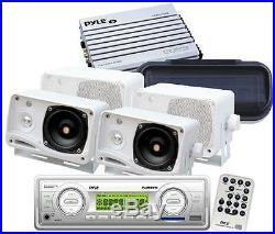 Pyle New Marine Boat MP3 AUX Radio + 4 3.5 Box Speakers 400 Watt Amp /Cover Pkg