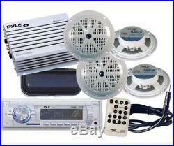 Pyle New PLMR18 In Dash Marine Boat MP3 USB AUX AM FM Radio 4 x Speakers Amp Pkg