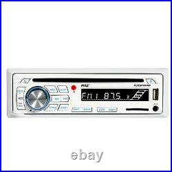 Pyle PLCDBT65 Bluetooth AM/FM Radio Stereo, 4x 6.5 Boat White Speakers, Antenna