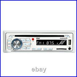 Pyle PLCDBT65 In Dash Marine Boat Radio CD SD USB & Wireless Bluetooth (White)