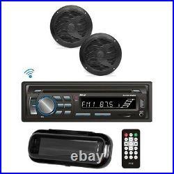 Pyle PLCDBT75MRB In Dash Marine Boat CD Bluetooth + Pair Speaker & Radio Cover