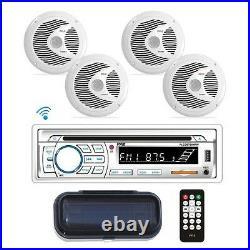 Pyle PLCDBT85MRW In Dash Marine Boat CD Bluetooth + 4 Speakers & Radio Cover