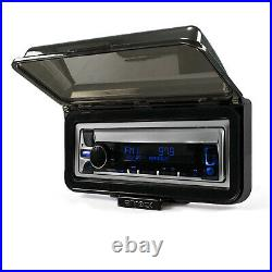Pyle PLMR14BW Boat Radio USB Receiver + 2 Silver 6.5 Speakers withCover