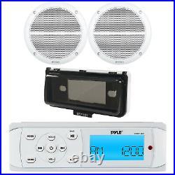Pyle PLMR14BW White Radio USB Marine Receiver, 2x 6.5 White Speakers, Cover