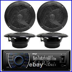 Pyle PLRMR27BTB Marine Boat MP3 Player Stereo AMFM Radio 4X 6.5 Speaker Package