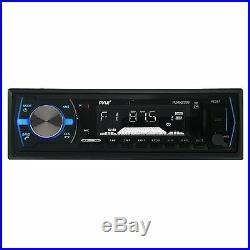 Pyle USB Bluetooth Boat Radio, 2 Pyle 6.5 LED Tower Speaker Set, Marine Antenna