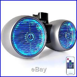 Pyle USB Bluetooth Boat Radio, Marine Antenna, 2 Pyle 6.5 Tower LED Speaker Set