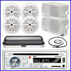 Pyle USB SD Bluetooth Boat Radio, 3.5 Box and 6.5 Speakers, Antenna, Radio Cover