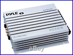 Pyle White AUX Boat AM FM Radio, 6.5 120W Speakers, 400W Marine Amplifier, Antenna