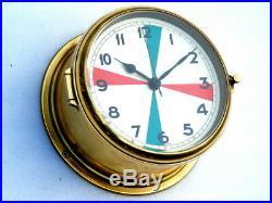 Rare Aquaris Ships Boat Yacht Marine Navigation Quartz Radio Room Brass Clock