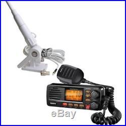 Uniden UM380BK Fixed Mount VHF/2-Way Marine Radio and Tram Boat Antenna Black