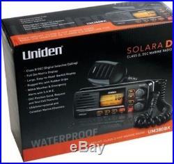 Uniden UM380BK Solara VHF Class D DSC Boat Marine Radio NOAA Weather Black UM380